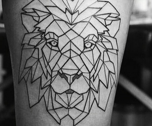 lion, black, and geometric image