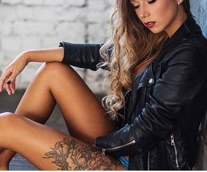 black, black nail polish, and chic image