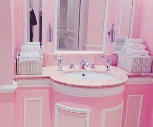 pink, bathroom, and pastel image