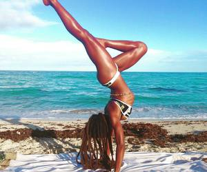 beach, water, and yoga image