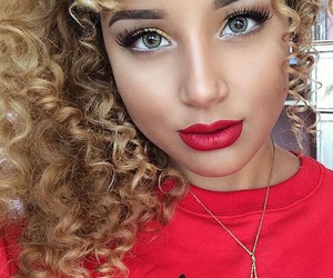 curly hair, girl, and eyes image