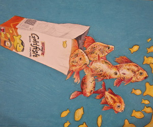 fish, goldfish, and art image