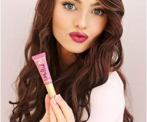 blue eyes, brunette, and cosmetics image