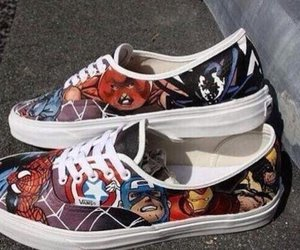 vans, shoes, and Marvel image