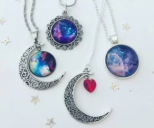 moon, necklace, and galaxy image