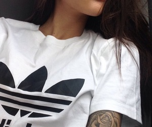 adidas, girl, and tattoo image