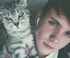 cat, boy, and pale image