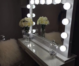 mirror, lights, and makeup image