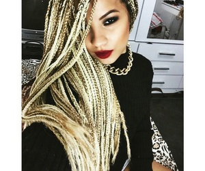 blond, lips, and box image