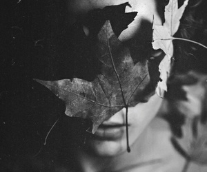 black and white, girl, and leaves image