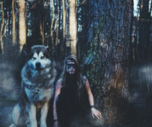 girl, nature, and wolf image