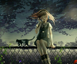 anime, cat, and music image