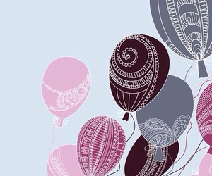 background, balloons, and girl image