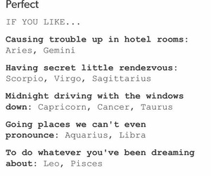 Lyrics, zodiac signs, and perfect image