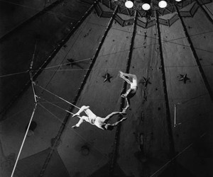 circus, vintage, and black and white image