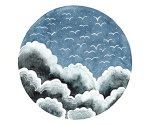 birds, clouds, and etsy image