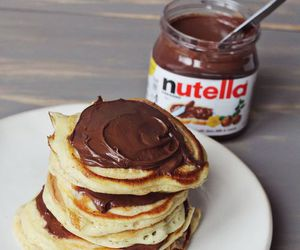 nutella, pancakes, and sweet image