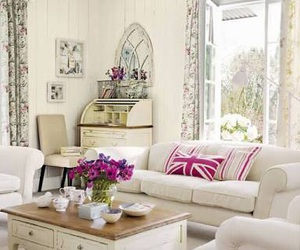 vintage, living room, and flowers image