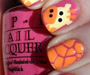 nails, giraffe, and pink image