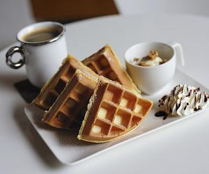 food, waffles, and coffee image