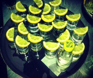 drink, tequila, and lemon image