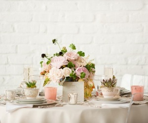pink, flowers, and table image