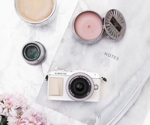 pink, white, and camera image