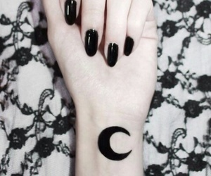 moon, black, and nails image