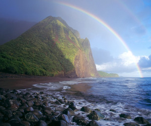 rainbow, hawaii, and beach image