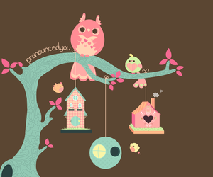 baby, illustration, and owl image