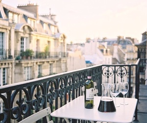 paris, wine, and balcony image