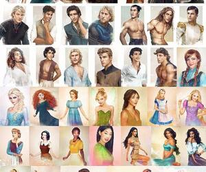 art, disney, and princesses image