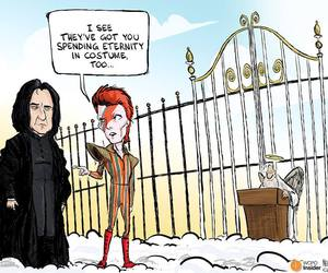 alan rickman, david bowie, and funny image