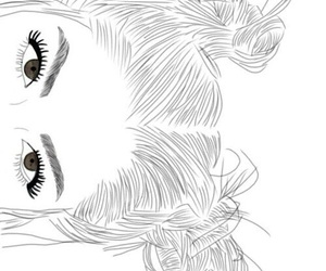 outline, eyes, and girl image