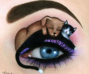 dog, cat, and eyes image