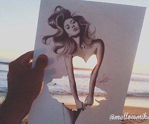 draw, girl, and sea image