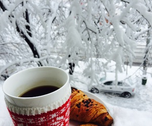 coffee, snow, and cuddle image