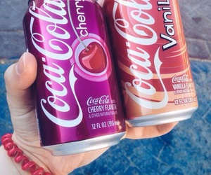 drink, cherry, and coca cola image