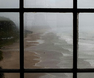 rain, sea, and window image