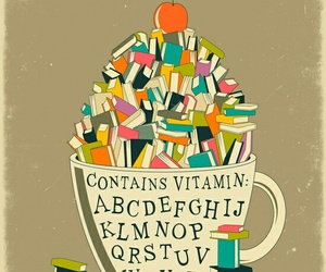 book, cup, and vitamin image