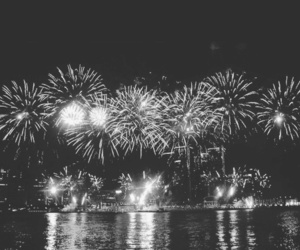fireworks, black and white, and fire image