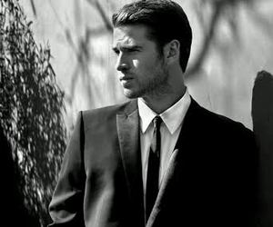 black and white, liam hemsworth, and boy image