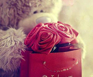 love, rose, and bear image