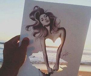 art, dress, and beach image