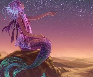 mermaid, stars, and anime image