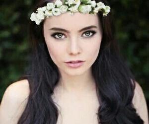 actress, flowers, and makeup image