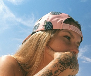 girl, blonde, and tattoo image