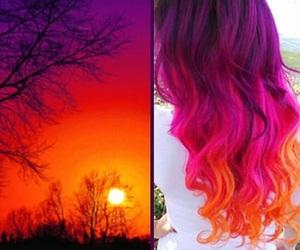 hair, orange, and purple image