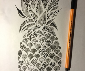 drawing, black, and pineapple image
