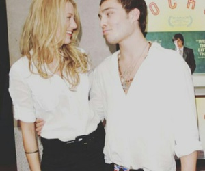 blake lively, chuck bass, and ed westwick image